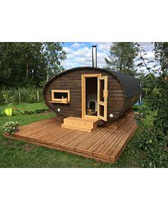 Ovale Sauna Eileen Vordach 2-Raum